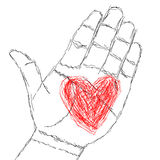 Wearing your heart on your hand Stock Images