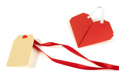 Heart made ​​of curled red paper and label Royalty Free Stock Photo