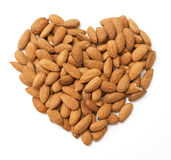 Heart made from almonds Royalty Free Stock Photography