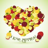 Heart made of apples with the text below Royalty Free Stock Image