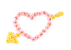 Heart made of artificial flowers. Stock Images