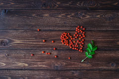 Heart made of ashberry at the wooden texture table Royalty Free Stock Photos