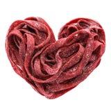 Heart made of beet veggie pasta. Healthy food for Valentine`s Da stock photos