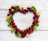 Heart made from berries Stock Images