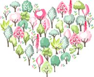 Heart made of blossoming spring trees. Stock Images