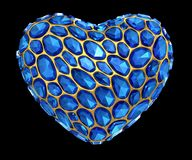 Heart made of blue diamond isolated on black background. 3d Stock Photo