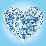 Heart made of blue flowers. Romantic cartoon invitation card. Royalty Free Stock Photography