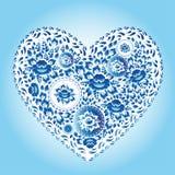 Heart made of blue flowers. Romantic cartoon invitation card.  Royalty Free Stock Photography