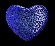 Heart made of blue plastic with abstract holes isolated on black background. 3d. Rendering royalty free illustration