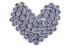 Heart made from blueberry Royalty Free Stock Photos
