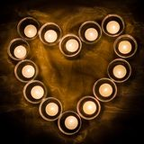 Heart made of candles stock images