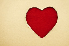 Heart made of cardboard (the theme for Valentine's Day) Stock Photos