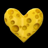 Heart made of cheese with holes. high quality rendering. Concept love for , valentines day, romance, passion, isolated Stock Image