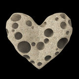 Heart made of cheese with holes. high quality rendering. Concept love for , valentines day, romance, passion, isolated Royalty Free Stock Images