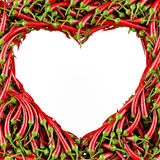 Heart made of Chili Pepper Stock Photography