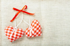 Heart made of cloth in red cell handmade Royalty Free Stock Images
