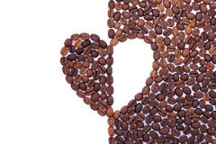 Heart made from coffee beans. Royalty Free Stock Photos