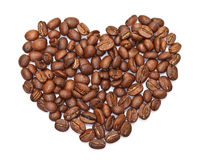 Heart made ​​from coffee beans Royalty Free Stock Images