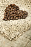 Heart made of coffee beans Stock Photography