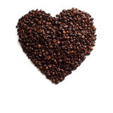 Heart Made of Coffee Beans. Coffee Cup Made of Coffee Beans. Isolated on white background, coffee art Royalty Free Stock Photo