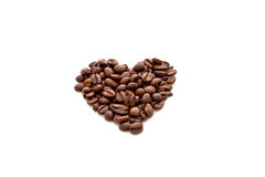 Heart made from coffee beans Stock Photos