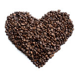 Heart made of coffee beans - stock photo Stock Photo