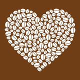 Heart made of coffee beans Royalty Free Stock Photo