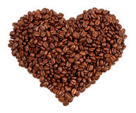 Heart made of coffee beans in a white background Stock Photography