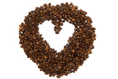 Heart made of coffee beans on white. Background Stock Photo