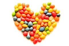 Heart made of colored candies Royalty Free Stock Images