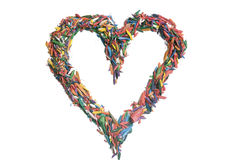 Heart made of colored pencil shavings Stock Photo
