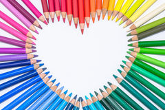 Heart made of Colorful Crayons Royalty Free Stock Photos