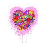 Heart made of colorful splashes of paint. Grunge Vector abstract heart with colorful splashes and paint drips . Graffiti heart. Valentine`s heart . Explosion of Royalty Free Stock Photos