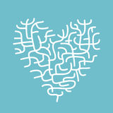 Heart made of corals, sketch for your design Royalty Free Stock Images