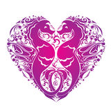 Heart is made of Couple of seahorses Royalty Free Stock Photos