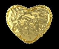 Heart made of crumpled gold foil isolated on black background. 3d. Rendering vector illustration