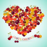 Heart made of different cherry with the text below Royalty Free Stock Photo