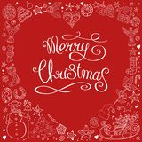 Heart made of different christmas decorative elements. Pretty card. Calligraphy phrase Merry Christmas. Traditional festive. Symbols. Isolated on red background stock illustration