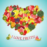Heart made of different fruits with the text below Royalty Free Stock Photos