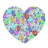 Heart made of different gemstones. Royalty Free Stock Photos