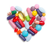Heart made of different medicaments Royalty Free Stock Image