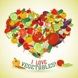 Heart made of different vegetables with the text below Stock Photo