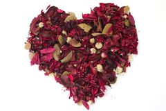 Heart made of Dried flowers. Isolated heart made of dried flowers Stock Images