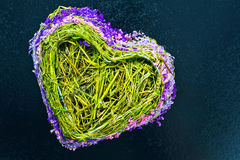 Heart made from dried herbs and flowers on a blue background Royalty Free Stock Photography