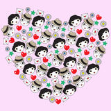 Heart Made Faces illustration Stock Photo