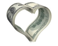 Heart made of few dollar papers Stock Photography