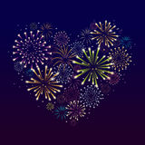 Heart Made from Fireworks. Vector Valentines Day Greeting Card Royalty Free Stock Image
