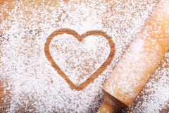 Heart made from flour Stock Photo