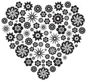 Heart made of Flowers in Black and White Vector Illustration Stock Photos