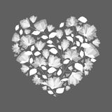 Heart made from, Flowers Clip art, in monotone grey . Stock Images